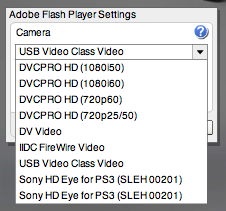 Flash Player's Camera Settings