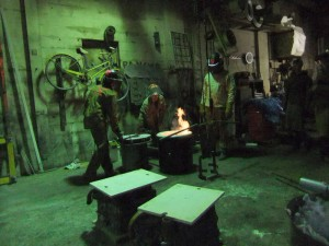 A Gas Furnace is Used to Melt the Bronze