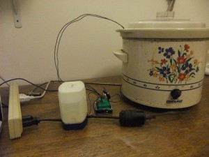 Plug the Crockpot into the Relay, the Relay into a Power Source
